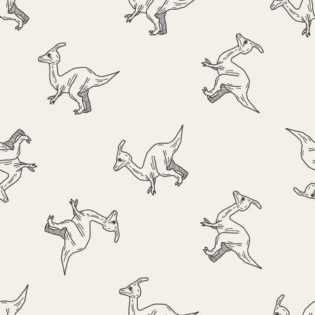 dinosaur doodle seamless pattern background Vector