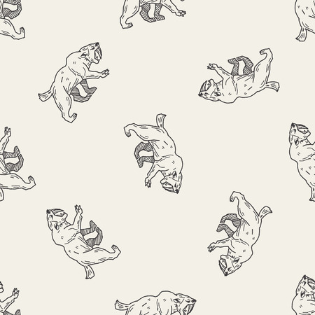saber tooth: Smilodon doodle seamless pattern background