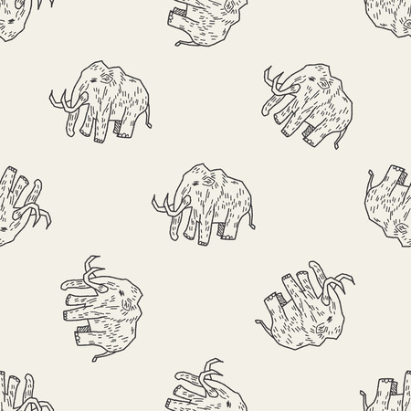 mammoth: Mammoth doodle seamless pattern background Illustration