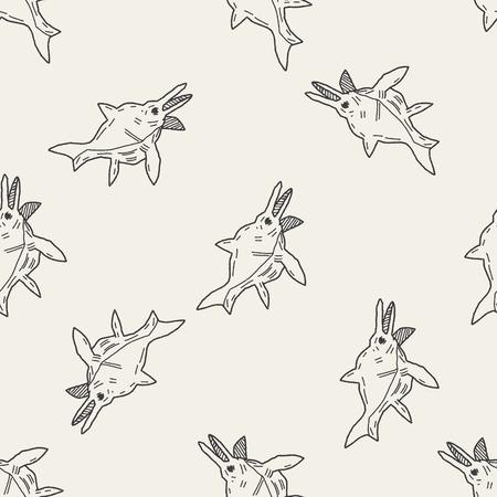 fish dinosaur doodle seamless pattern background Vector
