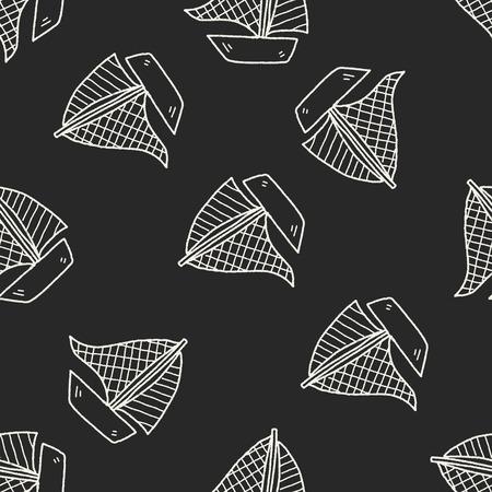 windsurf: doodle sail seamless pattern background