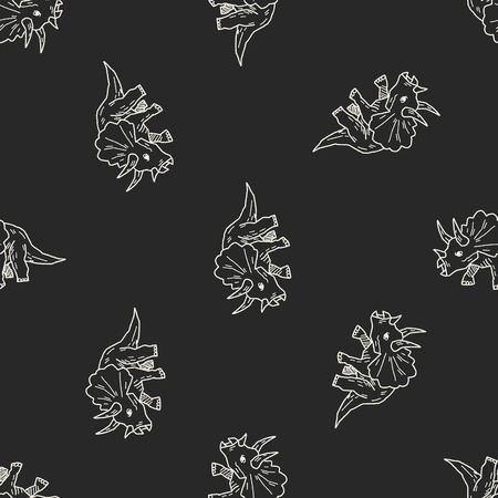 Triceratops dinosaur doodle seamless pattern background Vector