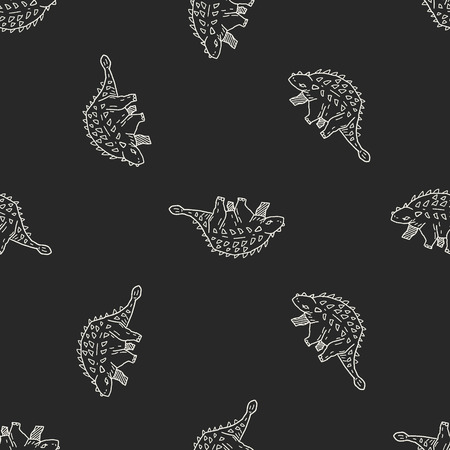 dinosaur doodle seamless pattern background Vector