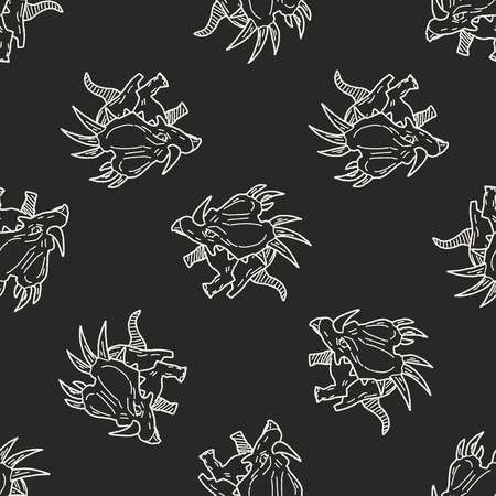 triceratops: Triceratops dinosaur doodle seamless pattern background