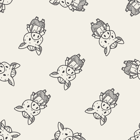 three little pigs: three little pigs doodle seamless pattern background Illustration