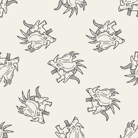 Triceratops dinosaur doodle seamless pattern background