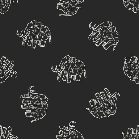 mammoth: Mammoth doodle seamless pattern background Illustration