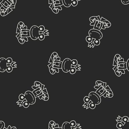 sapo principe: doodle de príncipe rana patrón de fondo sin fisuras