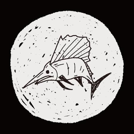blue silhouettes: Swordfish doodle