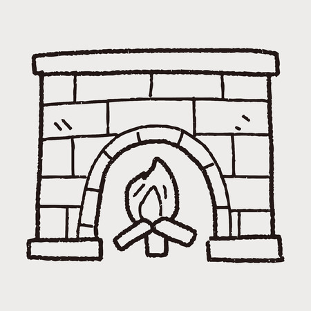 fireplace: Fireplace doodle Illustration