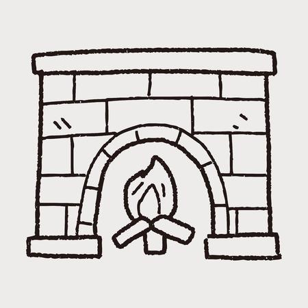 fireside: Fireplace doodle Illustration