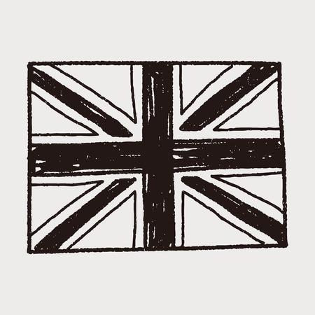 bandera uk: Reino Unido bandera del doodle Vectores
