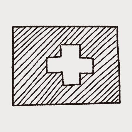 zwitserland vlag: Vlag van Zwitserland doodle