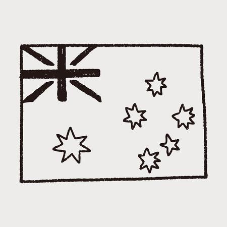 melbourne australia: australia flag doodle Illustration