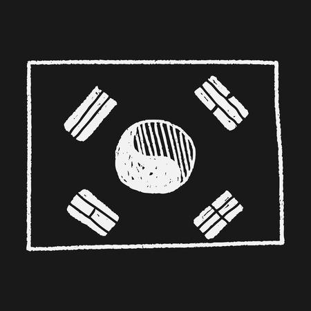 korea flag: Korea flag doodle