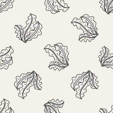 kelp: Kelp doodle seamless pattern background