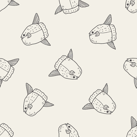 sunfish: Sunfish doodle seamless pattern background Illustration