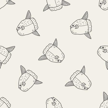 sunfish: Sunfish doodle seamless pattern background Illustration