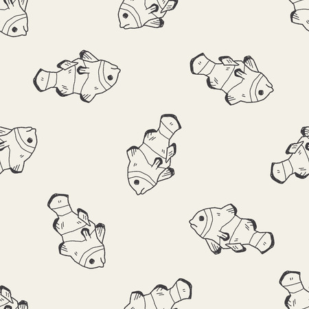 anemonefish: Clownfish doodle seamless pattern background