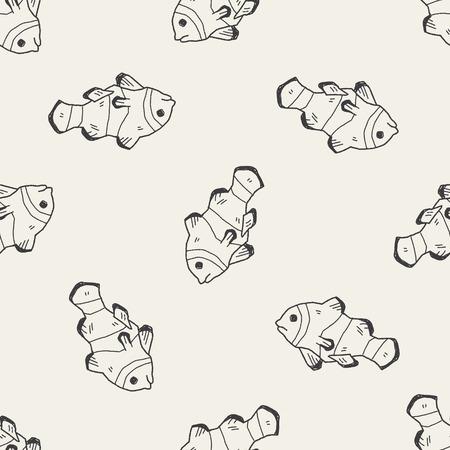 peces payaso: Doodle de Pez payaso fondo sin patr�n