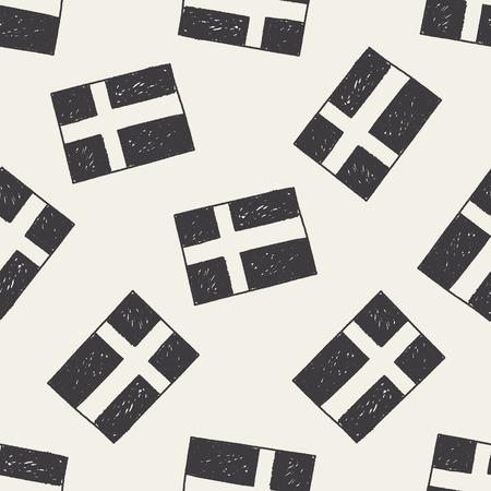 sweden flag: sweden flag doodle seamless pattern background Illustration