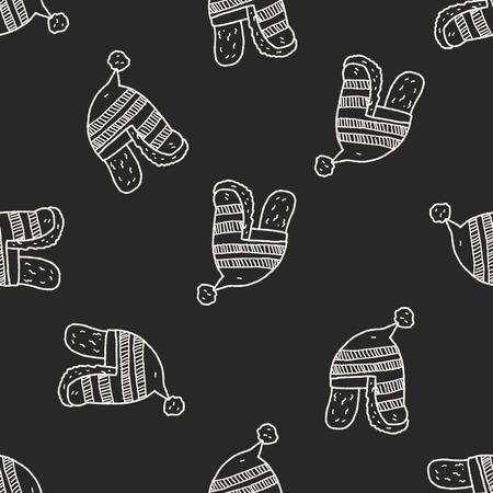 fur cap: winter hat doodle seamless pattern background