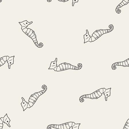 hippocampus: Hippocampus doodle seamless pattern background