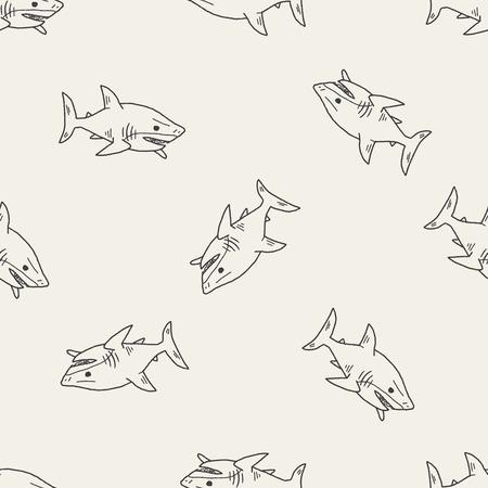 Haai doodle naadloze patroon achtergrond