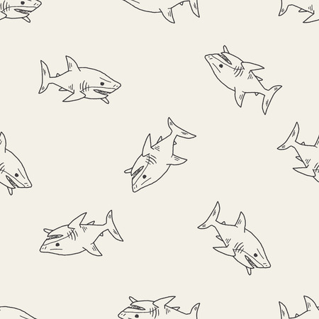 Shark doodle seamless pattern background Çizim
