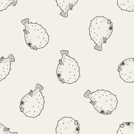 puffer fish: Puffer doodle seamless pattern background