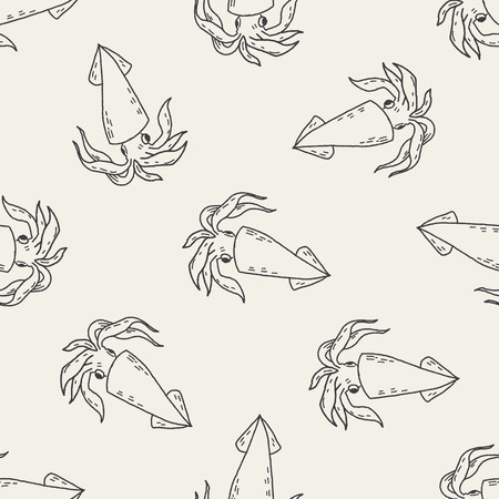 cephalopod: Squid doodle seamless pattern background Illustration