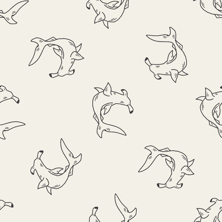 hammerhead: Hammerhead shark doodle seamless pattern background