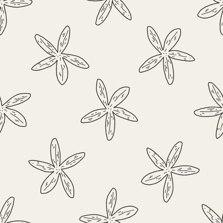 Starfish doodle seamless pattern background Vector