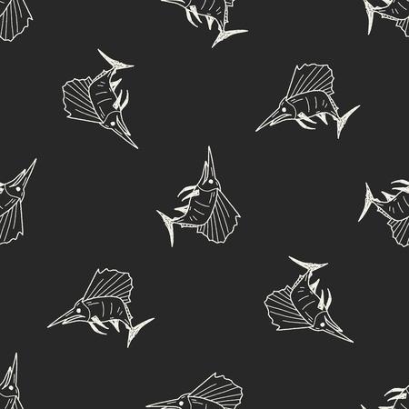 pez espada: Doodle de pez espada fondo sin patr�n Vectores