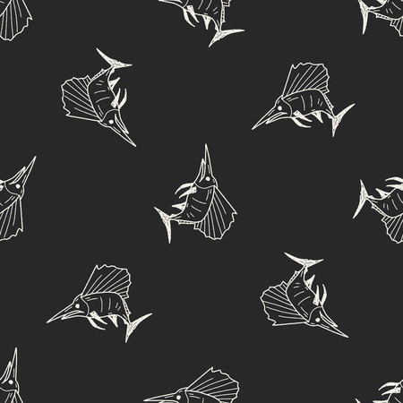 Swordfish doodle seamless pattern background Vector