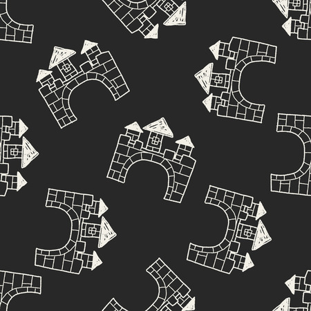 castle doodle seamless pattern background Vector