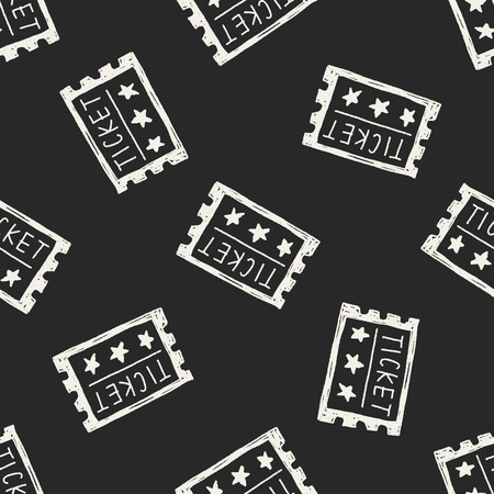 ticket doodle seamless pattern background Vector