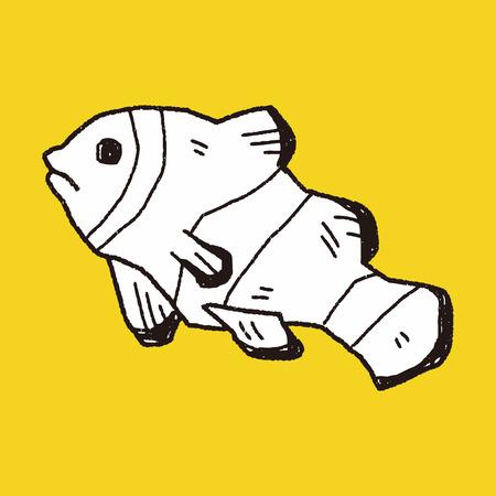 anemonefish: Clownfish doodle Illustration