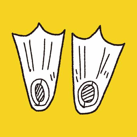 schwimmflossen: Flossen doodle Illustration