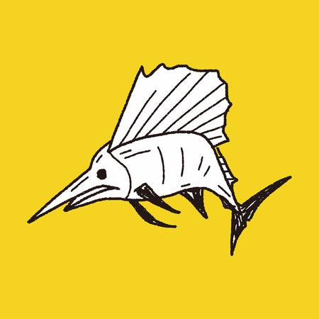 Swordfish doodle Vector