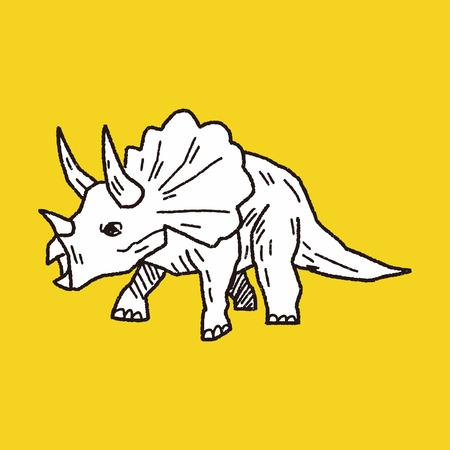 Triceratops dinosaurus doodle Stock Illustratie