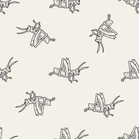locust: grasshopper doodle seamless pattern background Illustration