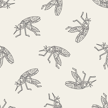 infectious disease: mosquito doodle seamless pattern background Illustration