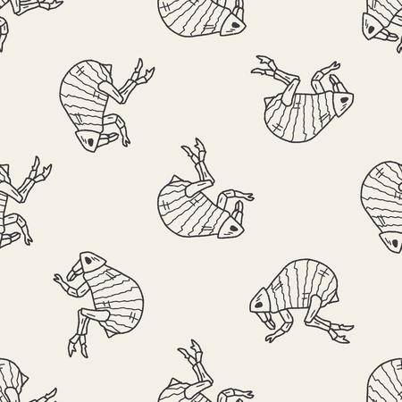 dog bite: Flea doodle seamless pattern background Illustration