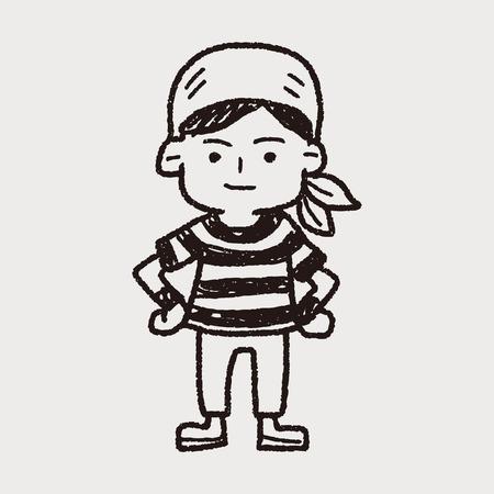 pirate Sailor doodle Vector