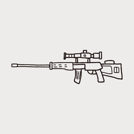 Sniper rifle doodle Ilustrace