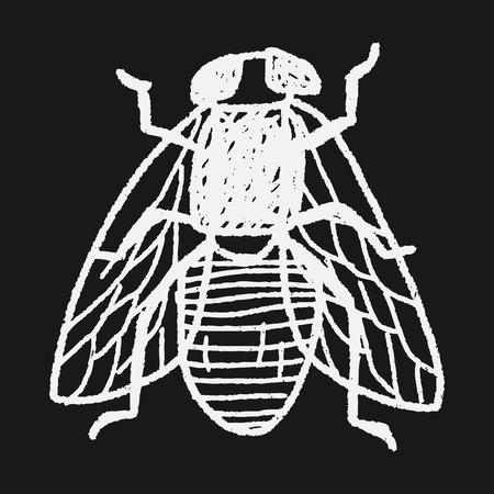 fly bug doodle Vector