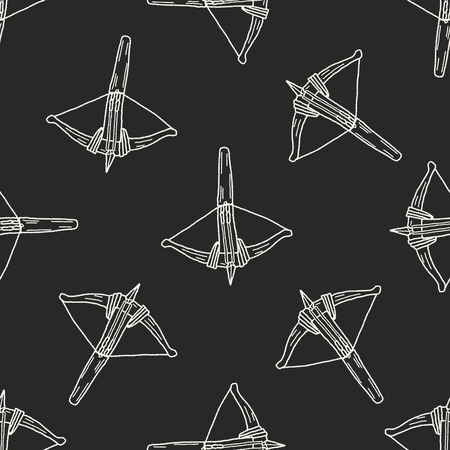 crossbow: Crossbow doodle seamless pattern background