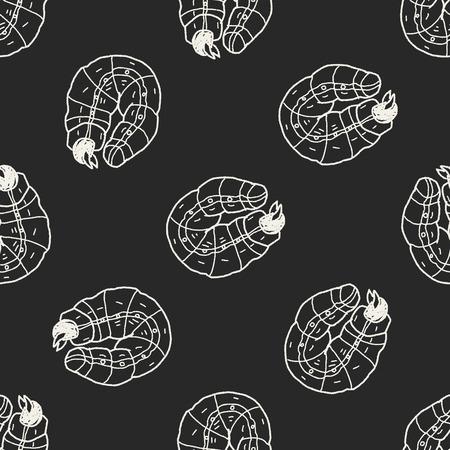 caterpillar: caterpillar doodle seamless pattern background Illustration