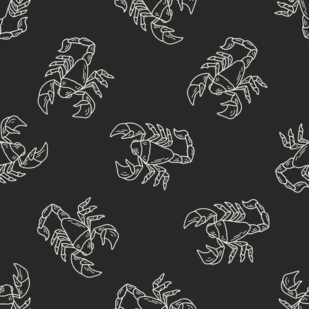 Scorpion doodle seamless pattern background Vector